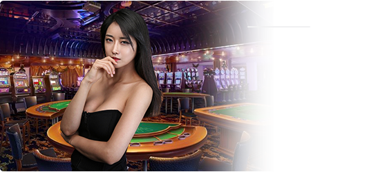 lady in black on casino background png