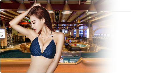 lady in blue 2 piece on casino background png